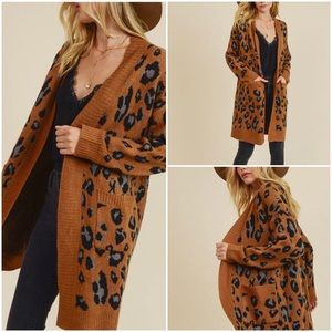 Last 2   In Loom Leopard Jacquard Camel Cardigan